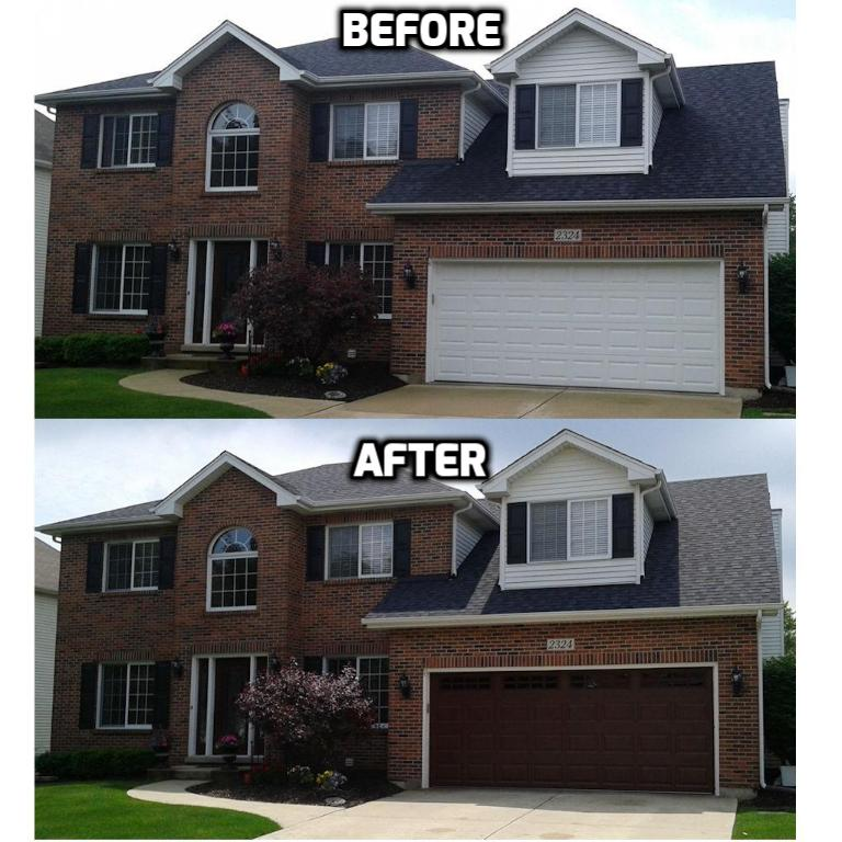 Clopay Classic Cherry Ultra Grain Garage Door with Stockton Windows Before and After Naperville IL
